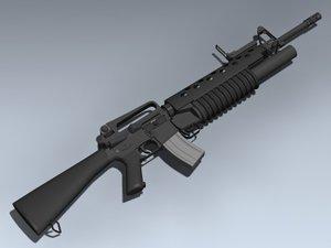 3dsmax m16a2 m203 rifle