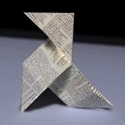 paper bird 3d model