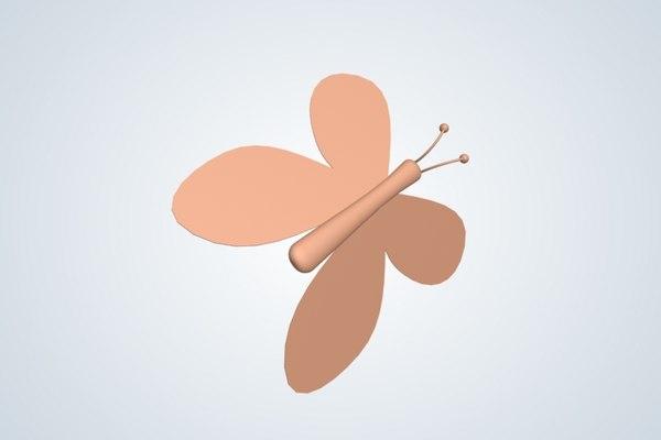 3d model of cartoony butterfly