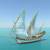 3d model sciabecco ship