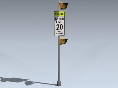 school zone flasher 3d model
