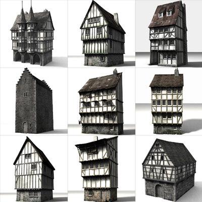 3d medieval townbuildings