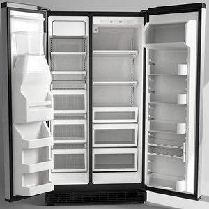 refrigerator opened doors 3d model