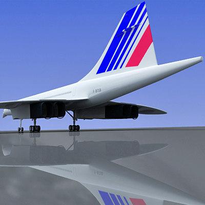 3d model concorde plane