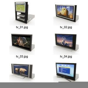6 televisions 3d model