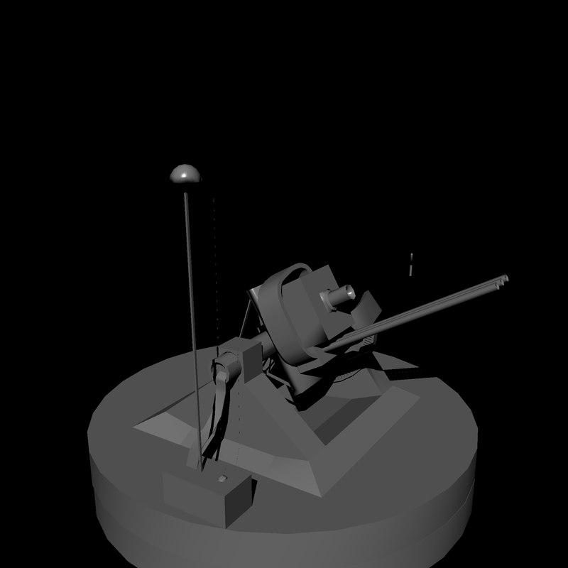 3d model anti air gun
