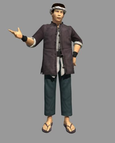 3d 3ds asian male peasant farmer