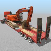 3d truck loader excavator truck-low