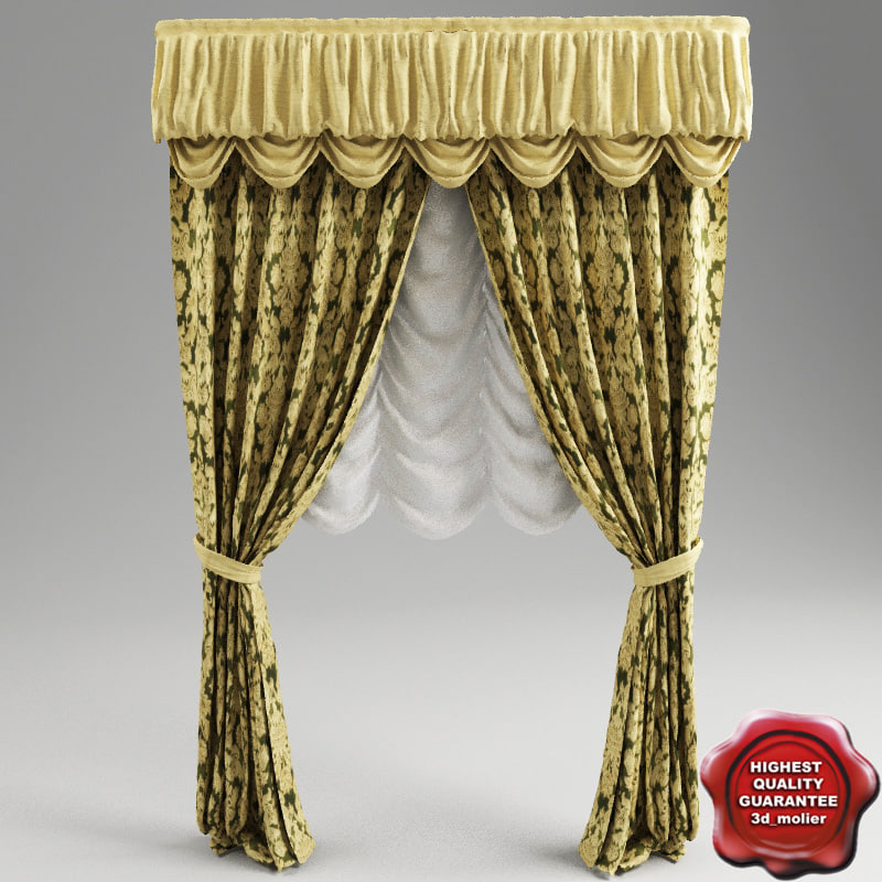 3d curtain classic interior model