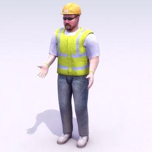 construction workman work 3d max