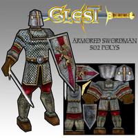 armored swordman 3d model