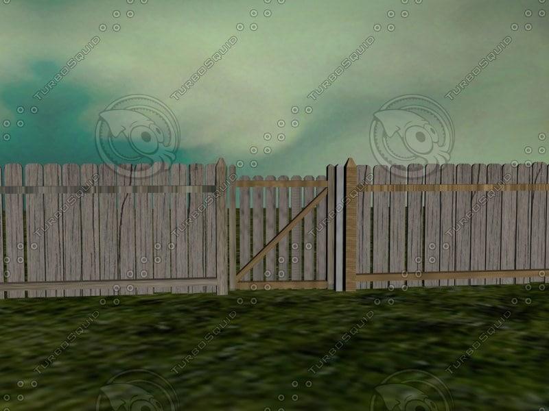 3d model scene gate fenced