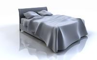 queen bed 3d model