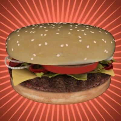 3d burger cheese-burger model