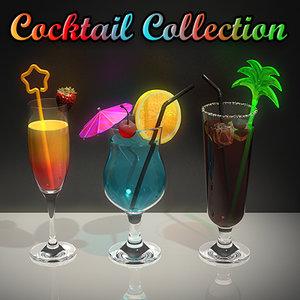cocktails ice parasol 3d model
