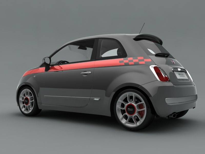fiat 500 sport 3d model. Black Bedroom Furniture Sets. Home Design Ideas