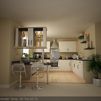 kitchen scene 3d max