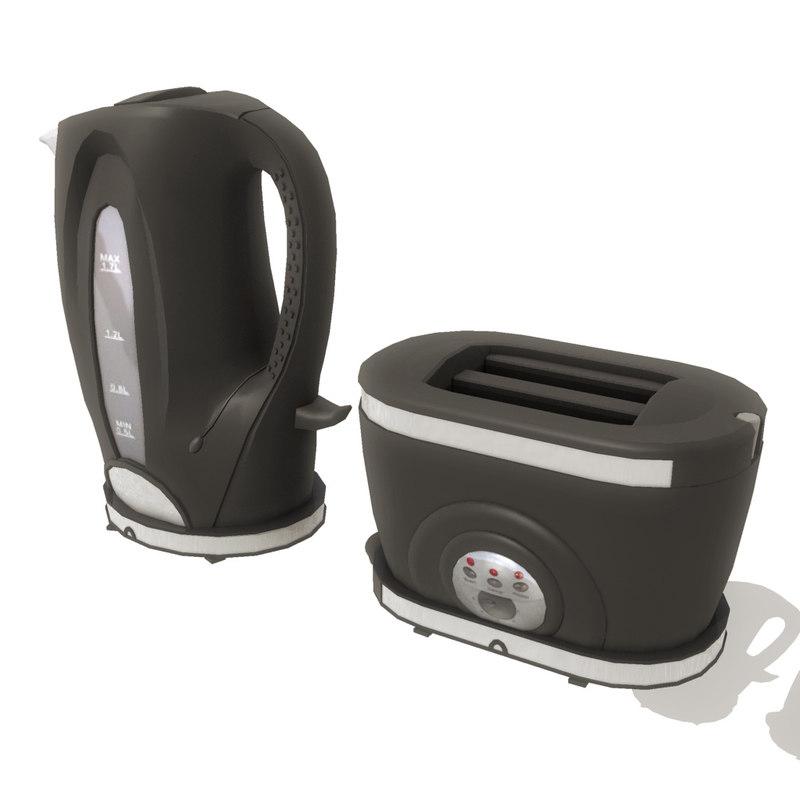 3d kettle toaster set