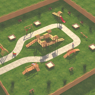 playground play scene 3d 3ds