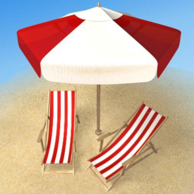 3d beach armchair umbrella
