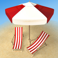 3d beach armchair umbrella