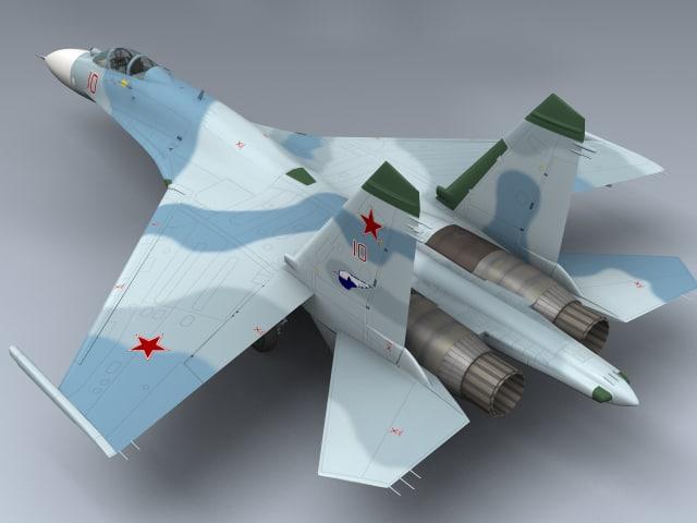 su-27 flanker b russia 3d model