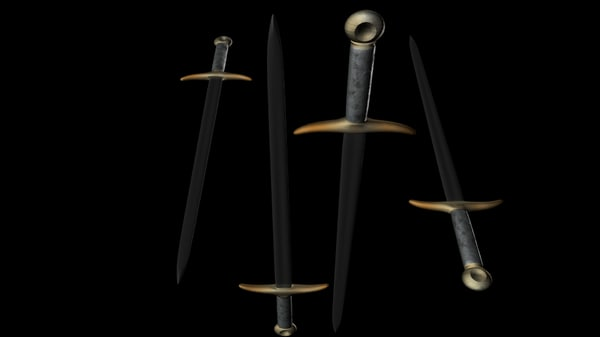 3d model 14th century double-edged sword weapons