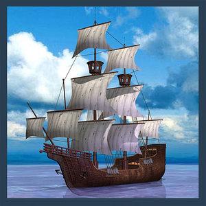 sailing ship 3d max