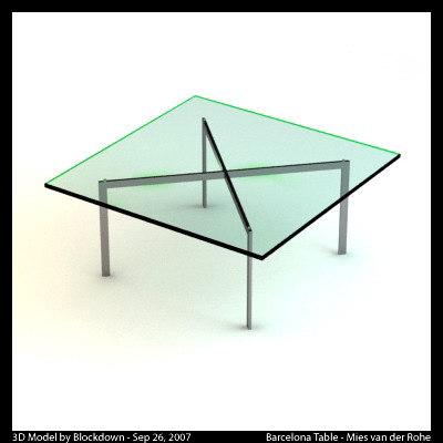 mies van glass table 3d model