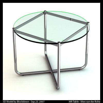 mies van glass table 3d ma