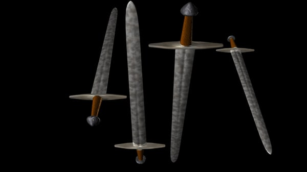 double-edged 12th-13th century sword weapons 3d model