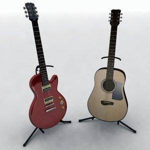 3d model guitar acoustic electric