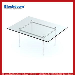 3ds max le corbusier glass table