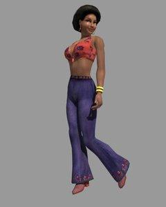 black female girl 3d 3ds