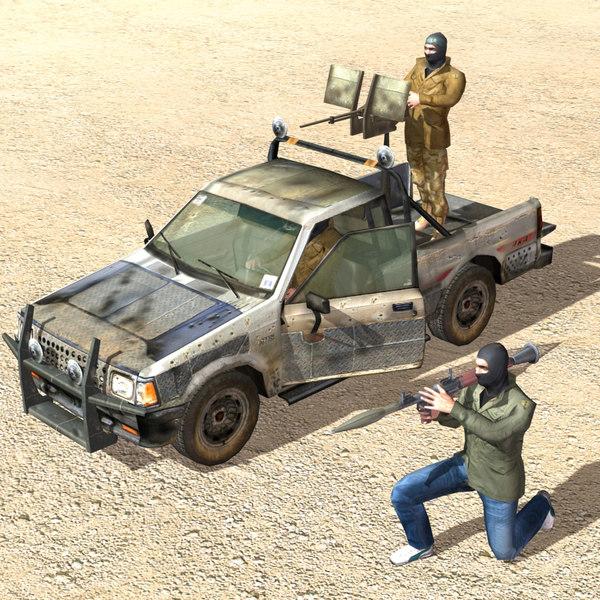rebels pickup trucks 3d model