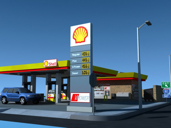 3d model shell gas station impact