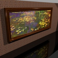 66in.x29in. Elegant Cherry Wood Framed Painting - Monet - Water lilies