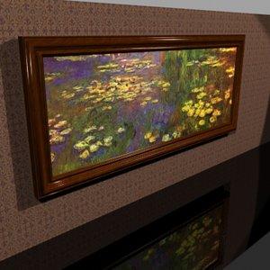 elegant cherry wood framed 3d model