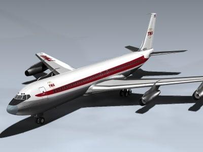 3ds 707 twa passenger jet