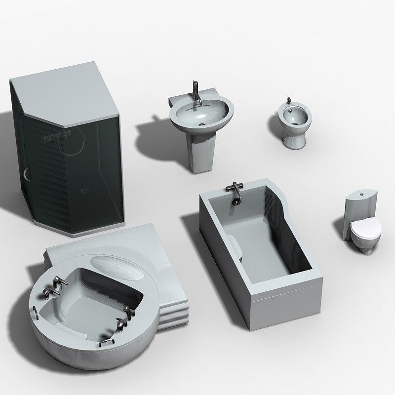 set bathroom tub 3d max