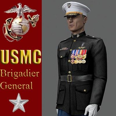 usmc brigadier general 9 3d model