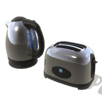3d kettle toaster set model