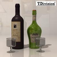 3d vine bottle model