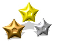 3d stars gold silver