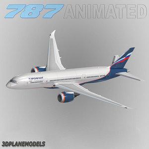 b787-8 aeroflot 3d max