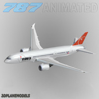 3d b787-8 northwest airlines model