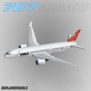 3d b787-8 northwest airlines model