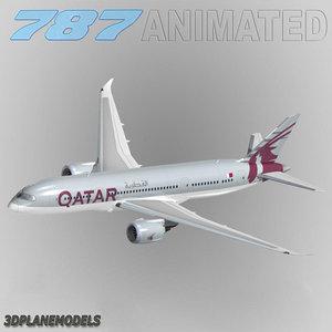 3d model b787-8 qatar airways