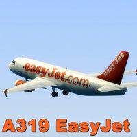 3d model airbus a319 easyjet jet