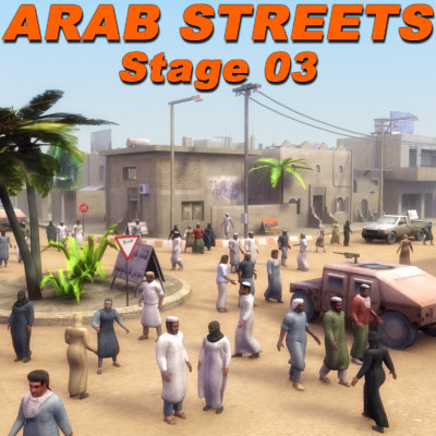 3d arab streets construction buildings
